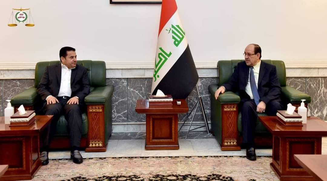 زعيم ائتلاف دولة القانون السيد نوري المالكي يستقبل مستشار الأمن القومي